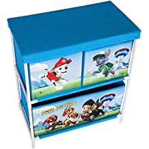 Unidad de almacenamiento Paw Patrol para los juguetes de los niños, en 3niveles, con 2o 3cajones organizadores, de color azul o rojo, una solución a los muebles de almacenamiento, como cestas o contenedores para la sala de juegos infantil, el dormitorio o la sala de estar, 2 Tier Organiser
