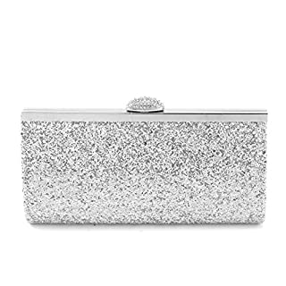 AllRight Women Fashion Gorgeous Glitter Clutch Bag Handbag Purse for Evening Prom Party - Assorted Sparkly Handbag Sliver