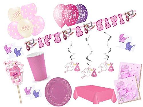Partydekoset Babyparty Baby Shower Mädchen rosa für 6 Personen 73 teilig Pullerparty Baby Geburt Babyparty Komplettset Tischdeko Party Geschirr