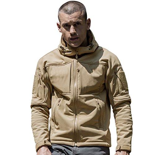 Nylon-fleece-jacke-mantel (FREE SOLDIER Herren Softshell-Mantel für Camping Wandern Klettern im Freien Winddicht und wasserdicht Fleece-Thermo-Jacke (Khaki, L))