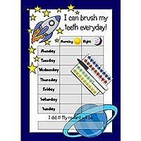 Happy Learners Teeth Tooth Brushing Reward Chart , 90 Star Stickers & Dry Wipe Pen - BOYS ROCKET DESIGN