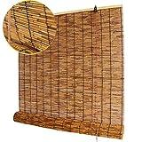 Koovin Stores enrouleurs-Stores en Bambou-Rideaux en Roseau, Stores en Paille rétro de qualité supérieure, Volets de Levage Anti-Corrosion imperméables pour Parasol pour extérieur/Patio/Porte