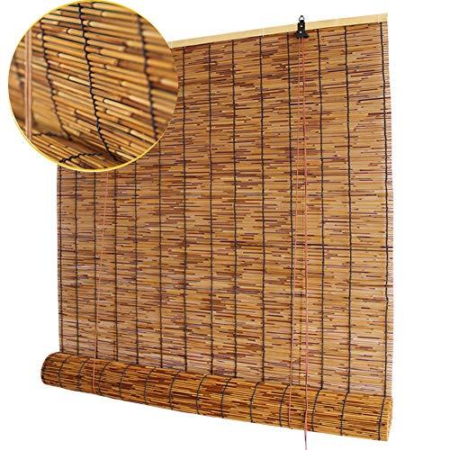 Koovin Bambusrollos-Rollläden-Vorhang aus Schilf, hochwertige Retro-Strohjalousien, wasserdichte Korrosionsschutzrollläden für den Außenbereich, den Innenhof und die Tür