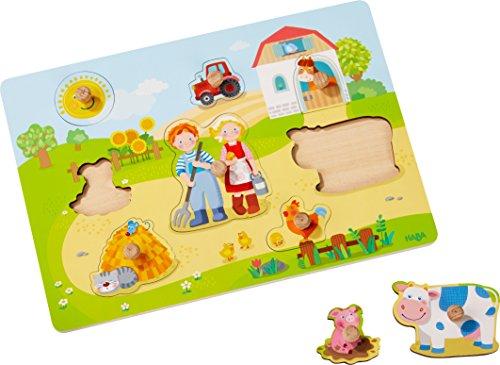 HABA 303769 - Greifpuzzle Auf dem Bauernhof | Holzspielzeug ab 12 Monaten | 8-teiliges Puzzle aus Holz mit buntem Bauernhofmotiv | Puzzleteile mit großen Knöpfen zum Greifen
