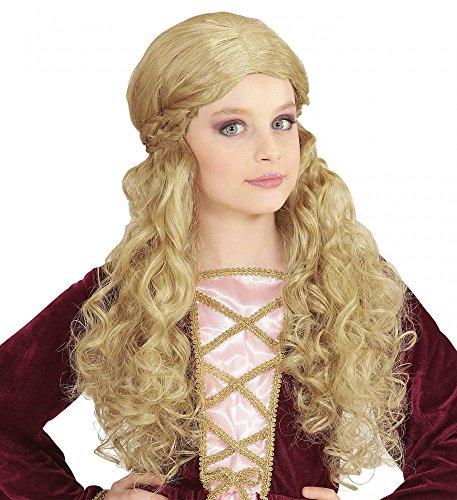 Mädchen Mittelalterliche Prinzessin Kostüm (Mittelalterliche Magd Mädchen Perücke Kindergröße Prinzessin Rennaissance , Farbe:)