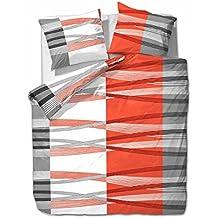 Ropa de cama (diseño de rayas), color naranja y morado - Etérea Hunter , microfibra, naranja, 155 x 220 cm