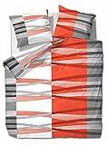 2 tlg. etérea Microfaser Bettwäsche Hunter Streifen Orange Weiß Grau, 140x200 cm + 70x90 cm