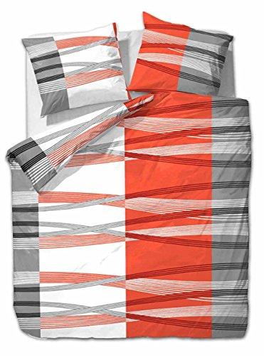 Etérea 3 TLG Microfaser Bettwäsche Hunter Streifen Orange Weiß Grau, 200x220 cm + 2X 80x80 cm