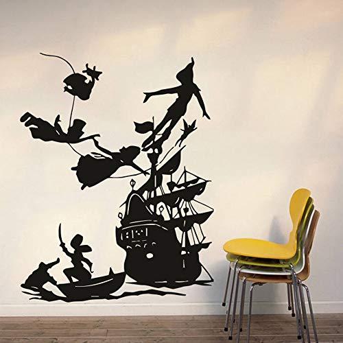 JXLK Peter Pan Wall Decal Boy Traum Cartoon Decals Piraten Schiff Dekor Wandaufkleber Kinderzimmer Schlafzimmer wasserdicht Vinyl Decals 54x42cm (Piraten-kinderzimmer Dekor)