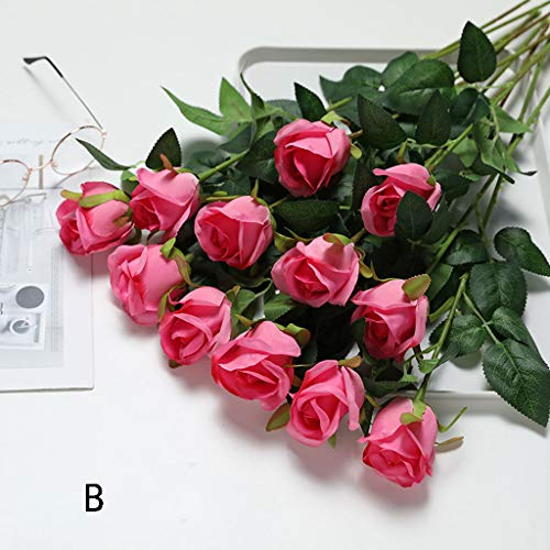 MELAG Flores Artificiales Exterior,1 Ramo 12 Cabezas de Flores de Seda Ramo de peonías Artificiales...