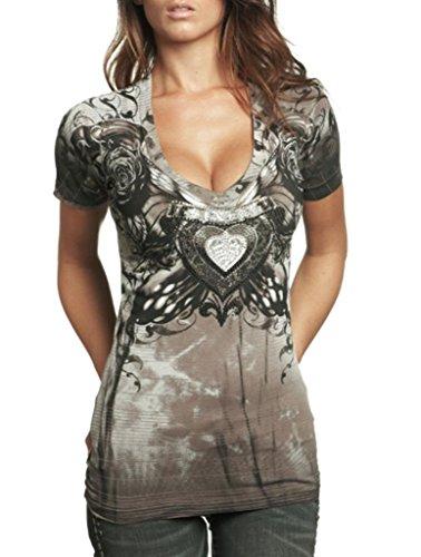 Herz Womens V-neck T-shirt (Affliction Sinful Damen Hemd Kurzarm Herz Rose Flügel Kreuz Vneck in Braun - Braun - X-Klein)