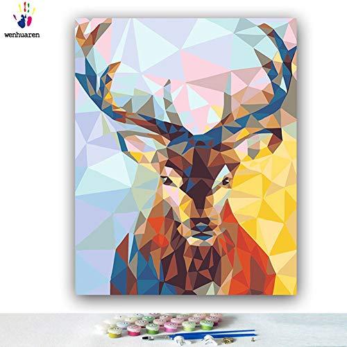 Malen nach Zahlen Kits Ölgemälde für Kinder, Studenten, Erwachsene Anfänger mit Pinsel und Acryl-Pigment gemalt Tier Zebra Giraffe Frosch Elch Katze 24x30 no frame 6984