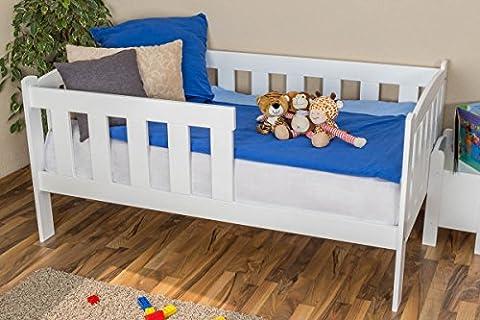Kinderbett / Juniorbett Kiefer massiv Vollholz weiß 96, inkl. Lattenrost - Abmessung 90 x 160 cm