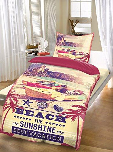 BRANDSSELLER -Hochwertige Wende-Bettwäsche Vintage Beach Microfaser Set