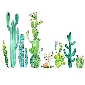 stazsx plante stickers muraux cactus papier peint salon chambre couloir stickers muraux papier. Black Bedroom Furniture Sets. Home Design Ideas