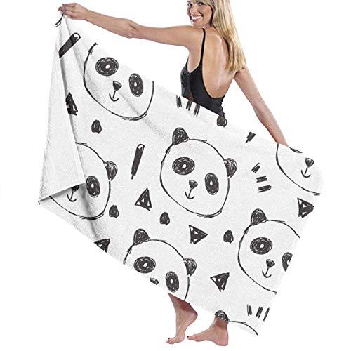 xcvgcxcvasda Serviette de bain, Beach Bath Hand Drawn Pandas Personalized Custom Women Men Quick Dry Lightweight Beach & Bath Blanket Great for Beach Trips, Pool, Swimming and Camping 31