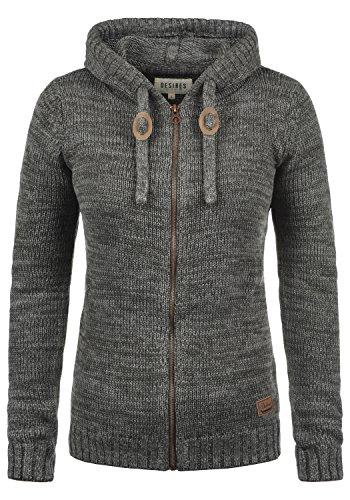 DESIRES Philadelphia Damen Winter Strickpullover Troyer Grobstrick Pullover mit Kapuze, Größe:M, Farbe:Dark Grey (2890) -