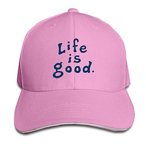 huseki-unisex-life-is-good-peaked-cap-hats-pink