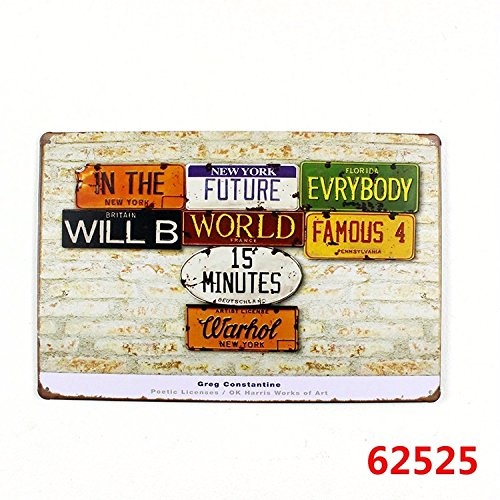 Price comparison product image metal poster tin sign vintage retro funny old wharhol License Plates