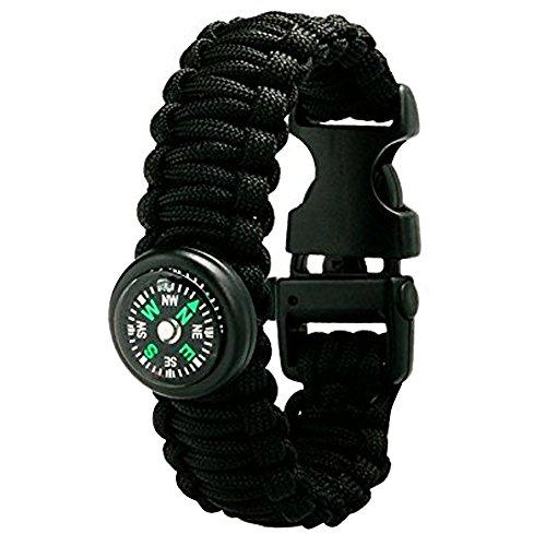 Sijueam Multi-fonctionnel Bracelet de Survie Paracorde 600lbs Tressage Boussole Allumé-feu Sifflet Boucle Corde pour Randonnée Nautisme Chasse Camping Escalade
