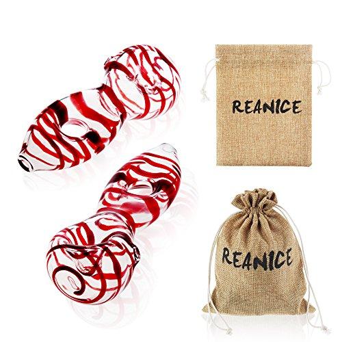 REANICE PIPE 2-Pack Eau de Verre Pipe Bubbler encens en Verre brûleurs à mazout Longueur Multicolore