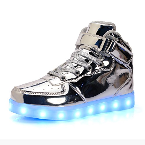 KE1AIP Damen Herren High Top USB Lade LED Schuhe Lights Up Trainer Blinkende Sport Sneakers Lace Up Couples Schuhe (EU36, (Schuhe Aufleuchten Herren)