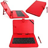 DURAGADGET Funda / Teclado QWERTY ESPAÑOL Roja Para Asus ZenPad 10 (Z3000CG) - Con Letra Ñ - Conexión MicroUSB + Lápiz Stylus