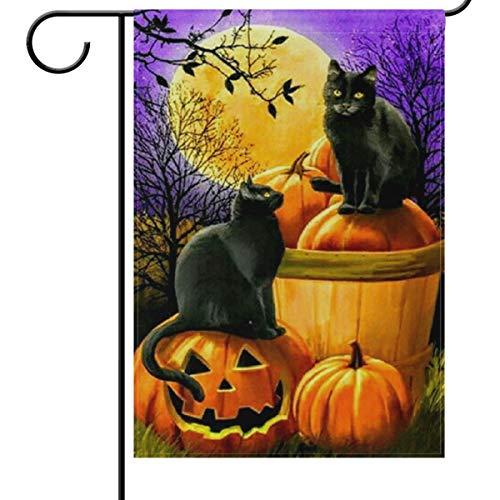 Wamika Halloween Gartenflagge 12 x 18 doppelseitig, Schwarze Katzen Kürbis Vollmond lila Nacht lustig gruselig Willkommen Herbst Herbst Urlaub Garten Haus Flaggen Banner für Party Home Decor
