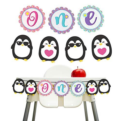 Birthday Party Supplies Pinguin One Hochstuhl Banner für Jungen Mädchen ersten Geburtstag Dekorationen ()