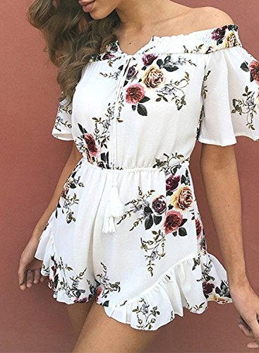 ACHICGIRL Women's off Shoulder Floral Printed Ruffle Romper white