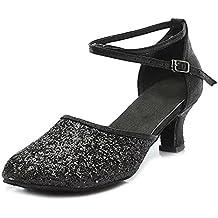 YKXLM Mujeres&Niña Zapatos latinos de baile Zapatillas de baile de salón Salsa Tango Performance Calzado de Danza,Modelo ESMF1802