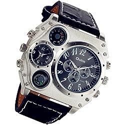 Lancardo Reloj Deportivo de Original Cuarzo Japonés Dial con Decoración de Brújula Termómetro Correa de Cuero Dual Tiempo Esfera de Metal para Actividad Deportes Exteriores Hombre (Negro)