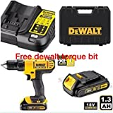 DEWALT 18V CORDLESS LITHIUM LXT COMBI DRILL,DRILL DRIVER WITH HAMMER ACTION FACILITY COMPLETE WITH LITHIUM BATTERY,FAST CHARGER,HEAVY DUTY CARRYING