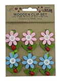 #2: Cloud 9 Small 10 Piece Mini Wooden Clips pegs 1 inch (25 mm) x .16 inc ((4 mm) for Decoration, Art, Hanging Pictures, Photographs, Light Weight Toys, Arts(Flower Design)
