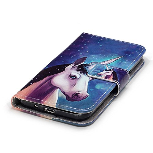 Coque Galaxy J3 2016, Etui pour Samsung Galaxy J3 2015/2016, ISAKEN Peinture Style la couleur PU Cuir Flip Magnétique Portefeuille Etui Housse de Protection Coque Étui Case Cover avec Stand Support et Licorne