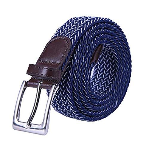 Yangbaga Cinturon elastico hombre, Cinturon Trenzado, Unisex Hombres Mujeres Casual Tejido (105-125cm) (Azul+blanco)