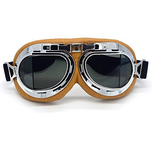 SummShine Vintage Aviator Pilot Chopper Motorrad Motorradbrille Schutzbrille Biker Cruiser Pilot Fliegerbrille Motocross Cruisers Half Face Helm Brille