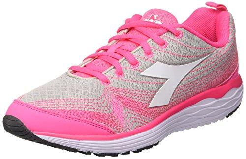 Diadora Flamingo W, Scarpe da Running Donna, Grigio (Grigio Alluminio/Rosso Paradise), 36.5 EU