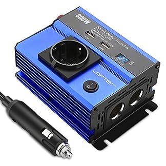 LOFTer-300W-Auto-Wechselrichter-LED-Anzeige-KFZ-Spannungswandler-DC-12V-auf-AC-230V-Power-Inverter-mit-2-USB-Anschlsse-1-Steckdose-und-2-Zigarettenanznder-Anschlssen-Blau
