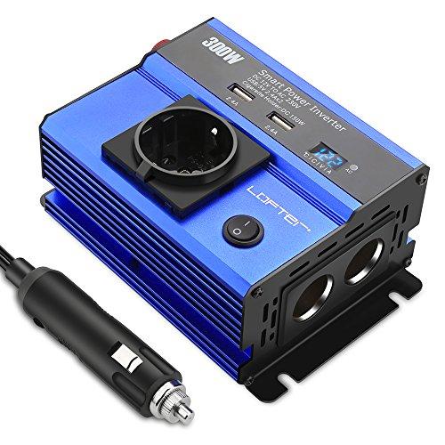 LOFTer 300W Auto Wechselrichter LED Anzeige KFZ Spannungswandler DC 12V auf AC 230V Power Inverter mit 2 USB Anschlüsse, 1 Steckdose und 2 Zigarettenanzünder Anschlüssen Blau. -