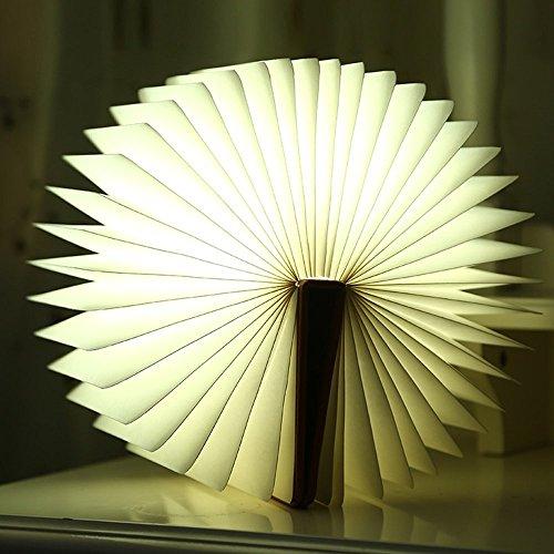 Weihnachten Dekorative drahtlos faltbar Nachtlicht Booklight LED Lampe braun Leder Buch Design Wandlampe Stehlampe mit USB Kabel