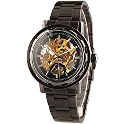 Alienwork Automatic Watch Self-winding Skeleton Mechanical Metal black black W9504G-01