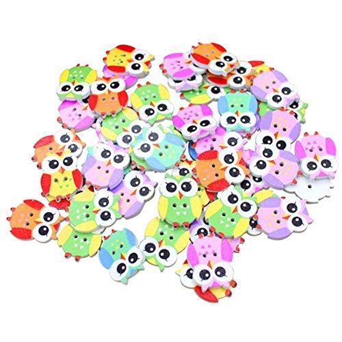 WINGONEER 100pcs animal multicolor de dibujos animados 2 agujeros botones de costura de madera-Búho