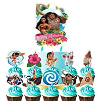 ‏‪Moana Cake Topper Cupcake Toppers Set Cupcake Decorations Birthday Party Topper for Children‬‏
