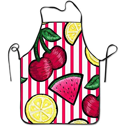 fc6198f9a9392 ouyjian Chef Aprons Fruits Stripe Deluxe Cooking Aprons,Funny Fashion Chef  Apron Applies to Men and Women