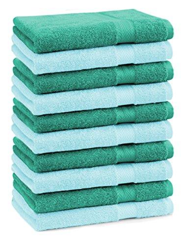 BETZ Lot de 10 serviettes débarbouillettes lavettes taille 30x30 cm en 100% coton Premium couleur turquoise et vert émeraude