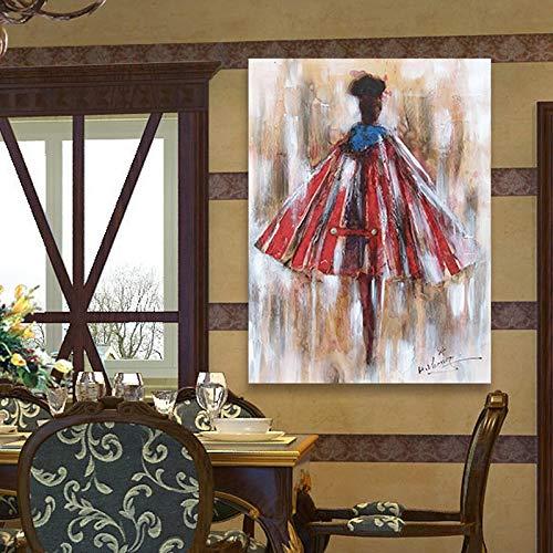 XIAOXINYUAN 100% Pintado A Mano Pintura Al Óleo Abstracta Falda Roja Mujer Cuerpo Humano Art Wall Pictures Pintura para Sala De Estar Decoración para El Hogar 30×50Cm
