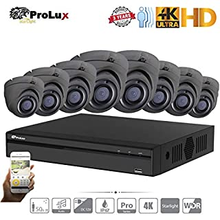 ProluX 5MP CCTV Home Security System Camera 4K Resolution 4CH 8CH 16CH DVR NVR (6TB) Hard Drive with (8) LTS Outdoor 5 Megapixels 50M IR Night Vision Surveillance Support 12/24 IP 8MP Camera Channel