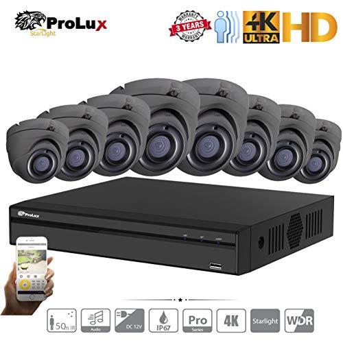 ProluX 5MP CCTV sistema de seguridad para el hogar cámara 4K resolución 4CH  8CH 16CH DVR NVR (1TB) disco duro con (8) LTS al aire libre 5 megapíxeles
