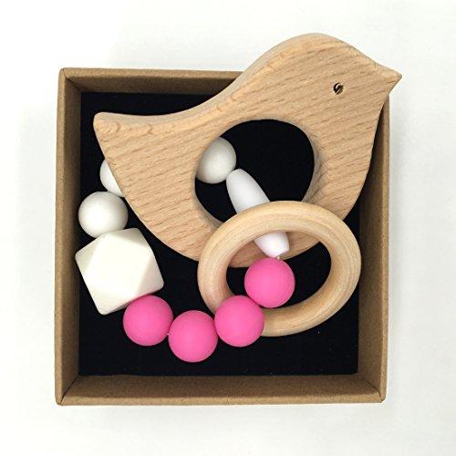 Coskiss Animal Bracciale in legno a forma di bambino Mamma Bambini Gioielli dentizione per il bambino di legno organico perline in silicone baby Bangle (S505)